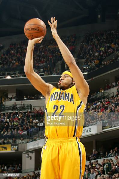 Chris Copeland of the Indiana Pacers shoots against the Chicago Bulls on December 29 2014 at Bankers Life Fieldhouse in Indianapolis Indiana NOTE TO...
