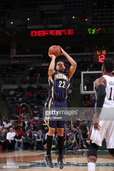 Chris Copeland of the Indiana Pacers shoots against the Milwaukee Bucks on April 9 2014 at the BMO Harris Bradley Center in Milwaukee Wisconsin NOTE...
