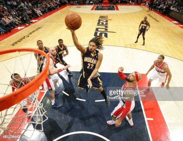 Chris Copeland of the Indiana Pacers shoots against the Washington Wizards during the game at the Verizon Center on March 28 2014 in Washington DC...