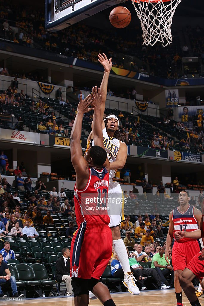 <a gi-track='captionPersonalityLinkClicked' href=/galleries/search?phrase=Chris+Copeland&family=editorial&specificpeople=833969 ng-click='$event.stopPropagation()'>Chris Copeland</a> #22 of the Indiana Pacers shoots against the Washington Wizards in Game Five of the Eastern Conference Semifinals during the 2014 NBA Playoffs on May 13, 2014 at Bankers Life Fieldhouse in Indianapolis, Indiana.