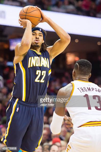 Chris Copeland of the Indiana Pacers shoots over Tristan Thompson of the Cleveland Cavaliers during the first half at Quicken Loans Arena on November...