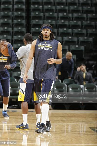 Chris Copeland of the Indiana Pacers warms up before a game against the Cleveland Cavaliers at Bankers Life Fieldhouse on February 27 2015 in...