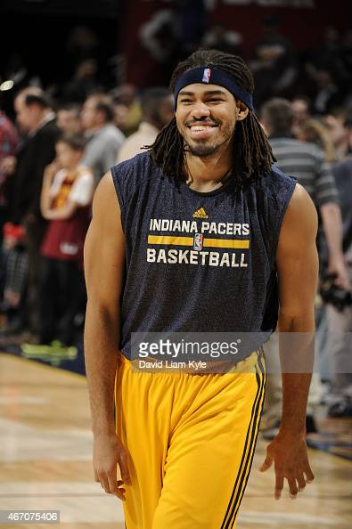 Chris Copeland of the Indiana Pacers warms up before the game against the Cleveland Cavaliers on March 20 2015 at Quicken Loans Arena in Cleveland...