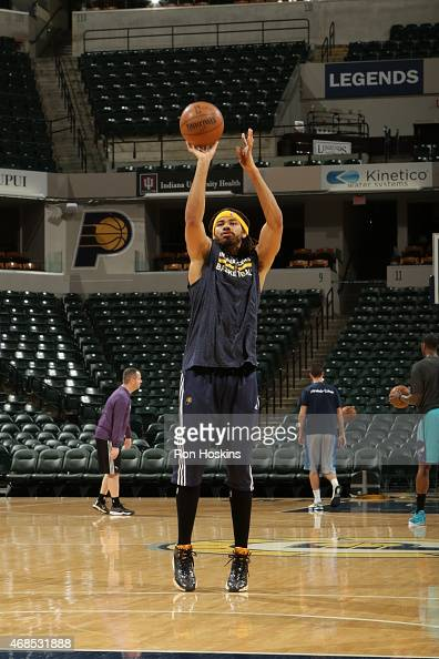 Chris Copeland of the Indiana Pacers warms up before the game against the Charlotte Hornets on April 3 2015 at Bankers Life Fieldhouse in...
