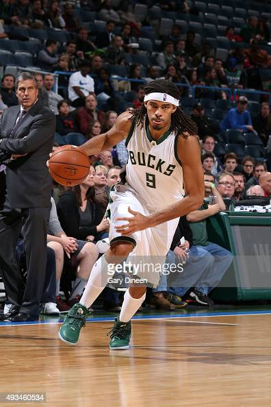Chris Copeland of the Milwaukee Bucks drives to the basket against the Washington Wizards during a preseason game on October 17 2015 at the BMO...