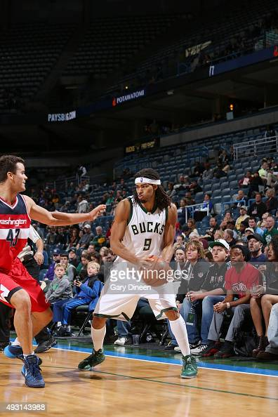 Chris Copeland of the Milwaukee Bucks handles the ball against the Washington Wizards during a preseason game on October 17 2015 at the BMO Harris...