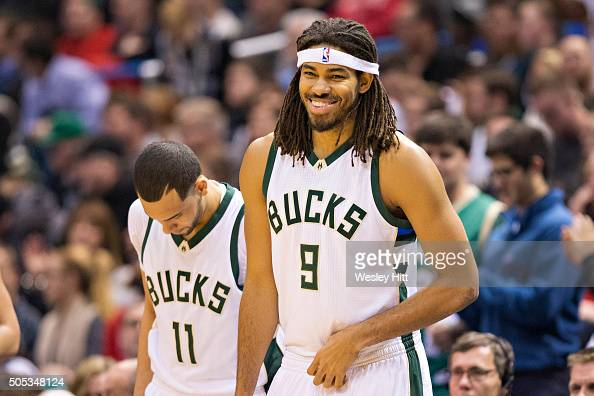 Chris Copeland of the Milwaukee Bucks is all smiles as he enters the game against the San Antonio Spurs at BMO Harris Bradley Center on January 4...