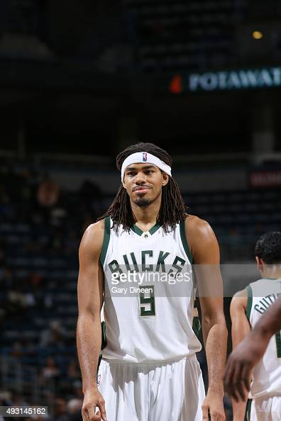 Chris Copeland of the Milwaukee Bucks looks on against the Washington Wizards during a preseason game on October 17 2015 at the BMO Harris Bradley...