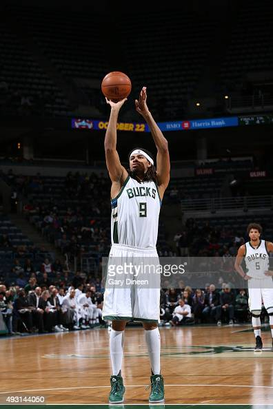 Chris Copeland of the Milwaukee Bucks shoots a free throw against the Washington Wizards during a preseason game on October 17 2015 at the BMO Harris...