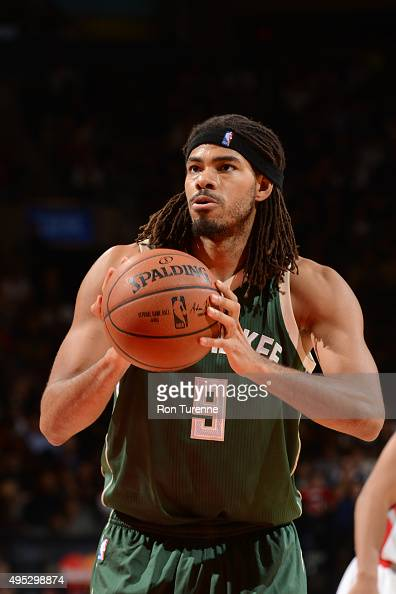 Chris Copeland of the Milwaukee Bucks shoots a free throw against the Toronto Raptors during the game on November 1 2015 at the Air Canada Centre in...