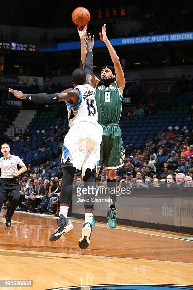 Chris Copeland of the Milwaukee Bucks shoots the ball against the Minnesota Timberwolves during a preseason game on October 23 2015 at Target Center...