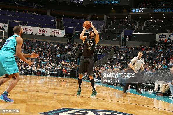 Chris Copeland of the Milwaukee Bucks shoots the ball against the Charlotte Hornets on January 16 2016 at Time Warner Cable Arena in Charlotte North...
