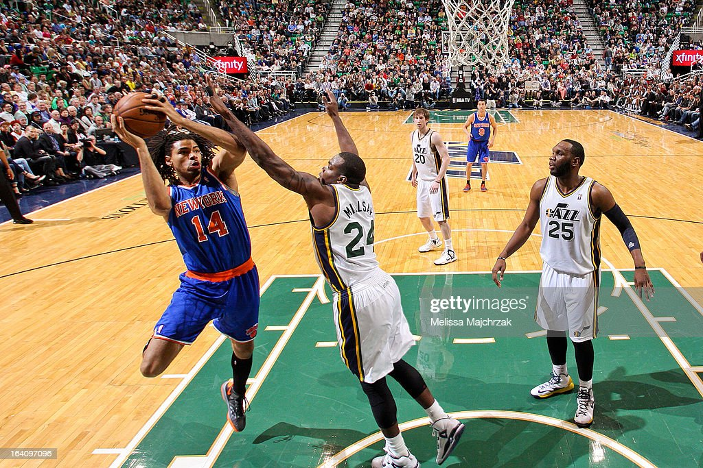 <a gi-track='captionPersonalityLinkClicked' href=/galleries/search?phrase=Chris+Copeland&family=editorial&specificpeople=833969 ng-click='$event.stopPropagation()'>Chris Copeland</a> #14 of the New York Knicks drives to the basket against <a gi-track='captionPersonalityLinkClicked' href=/galleries/search?phrase=Paul+Millsap&family=editorial&specificpeople=880017 ng-click='$event.stopPropagation()'>Paul Millsap</a> #24 of the Utah Jazz at Energy Solutions Arena on March 18, 2013 in Salt Lake City, Utah.