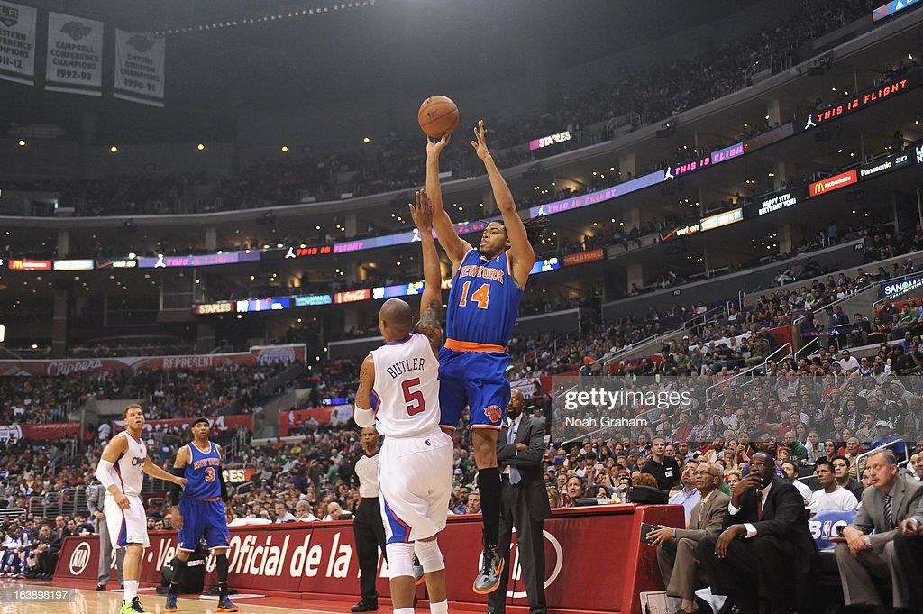 Chris Copeland #14 of the New York Knicks goes for a jump shot during the game between the Los Angeles Clippers and the New York Knicks at Staples Center on March 17, 2013 in Los Angeles, California.