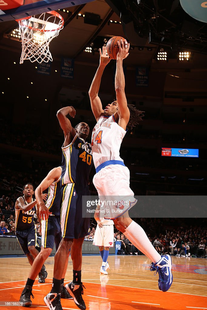 <a gi-track='captionPersonalityLinkClicked' href=/galleries/search?phrase=Chris+Copeland&family=editorial&specificpeople=833969 ng-click='$event.stopPropagation()'>Chris Copeland</a> #14 of the New York Knicks goes to the basket against Jeremy Evans #40 of the Utah Jazz on March 9, 2013 at Madison Square Garden in New York City.