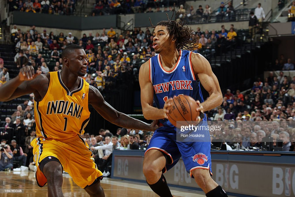 Chris Copeland #14 of the New York Knicks looks to shoot the ball against Lance Stephenson #1 of the Indiana Pacers on January 10, 2013 at Bankers Life Fieldhouse in Indianapolis, Indiana.