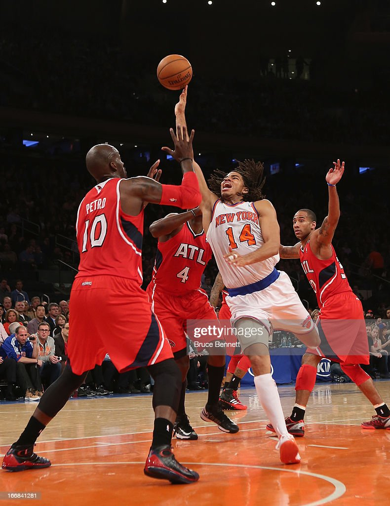 Chris Copeland #14 of the New York Knicks scores two in the fourth and ended the game with a team high of 33 against the Atlanta Hawks at Madison Square Garden on April 17, 2013 in New York City. The Knicks defeated the Hawks 98-92.