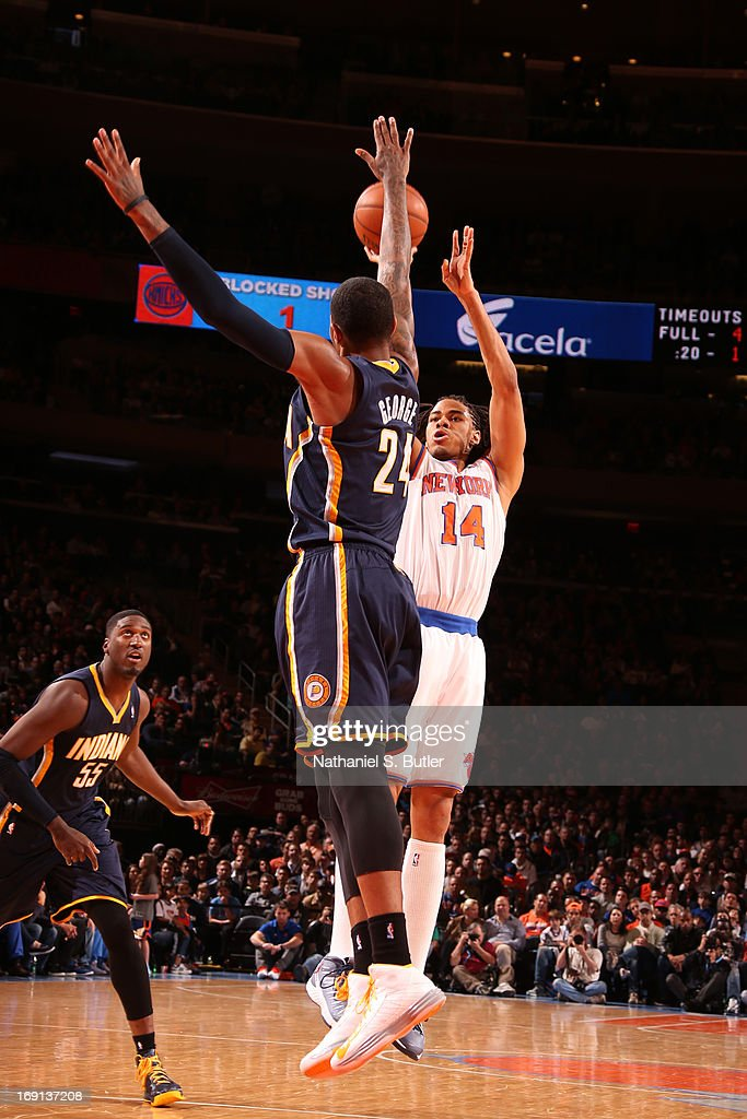 <a gi-track='captionPersonalityLinkClicked' href=/galleries/search?phrase=Chris+Copeland&family=editorial&specificpeople=833969 ng-click='$event.stopPropagation()'>Chris Copeland</a> #14 of the New York Knicks shoots against Paul George #24 of the Indiana Pacers on April 14, 2013 at Madison Square Garden in New York City.