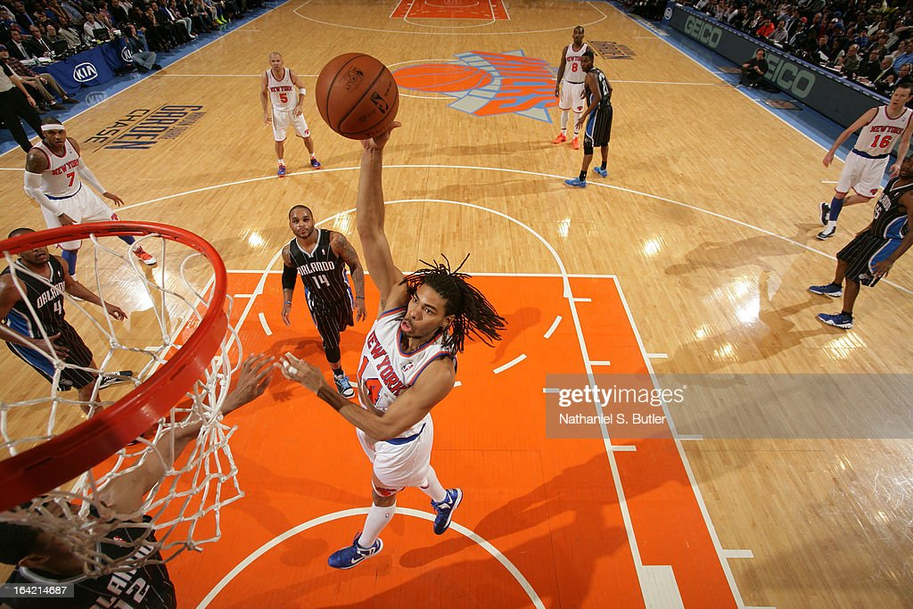 Chris Copeland #14 of the New York Knicks shoots against the Orlando Magic on March 20, 2013 at Madison Square Garden in New York City.