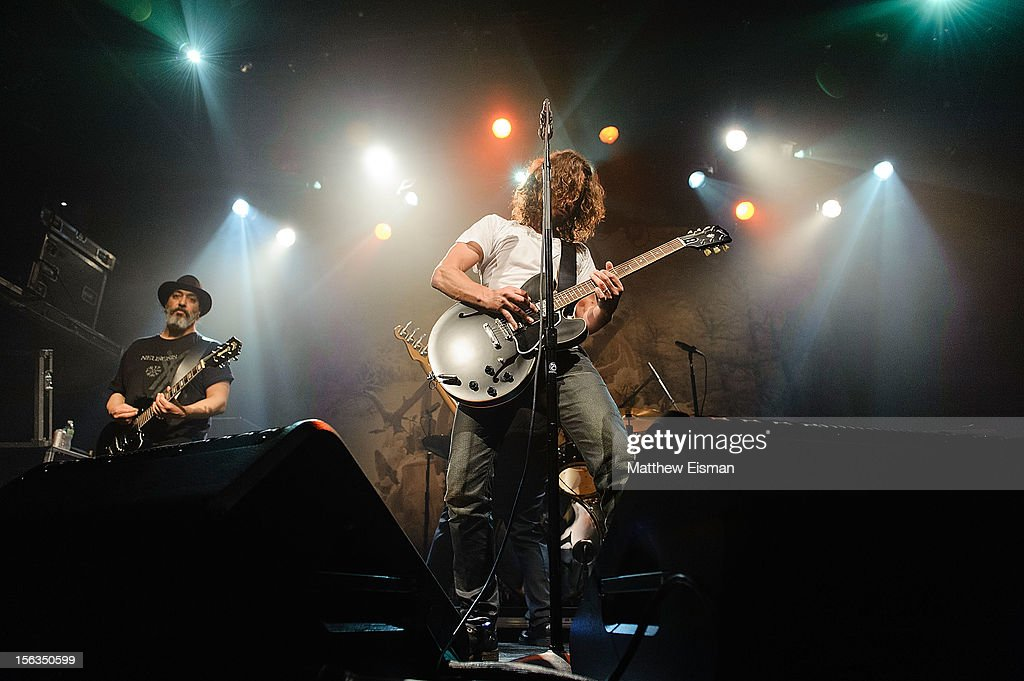 <a gi-track='captionPersonalityLinkClicked' href=/galleries/search?phrase=Chris+Cornell&family=editorial&specificpeople=221615 ng-click='$event.stopPropagation()'>Chris Cornell</a> (R) and Kim Thayil of the rock band Soundgarden perform at an intimate show in celebration of their new album 'King Animal' at Irving Plaza on November 13, 2012 in New York City.
