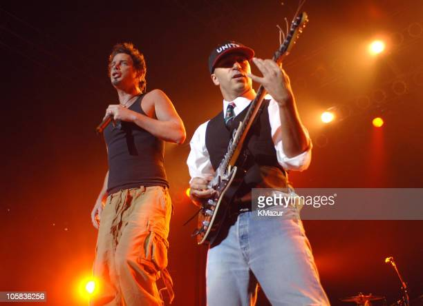 Chris Cornell and Tom Morello of Audioslave during Audioslave in Concert at Roseland in New York City April 30 2005 at Roseland in New York City New...