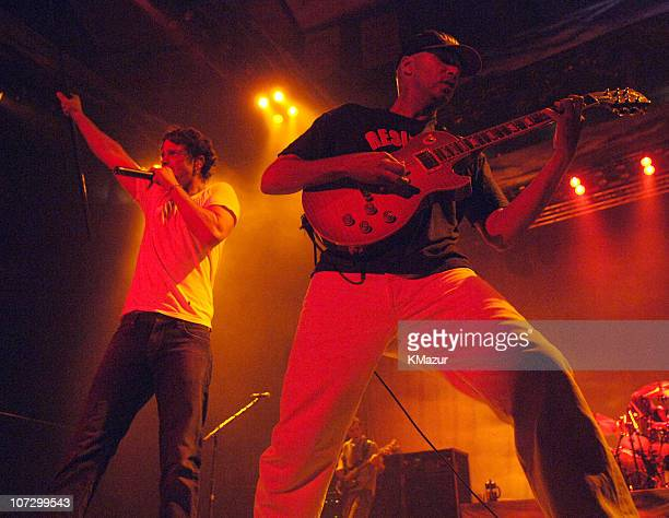 Chris Cornell and Tom Morello of Audioslave during Audioslave in Concert at Madison Square Garden in New York City October 29 2005 at Madison Square...
