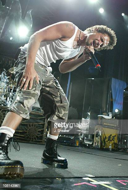 Chris Cornell and Tom Morello of Audioslave during Lollapalooza 2003 Tour Opening Night Indianapolis at Verizon Wireless Music Center in Indianapolis...