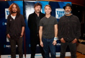 Chris Cornell Ben Shepherd Matt Cameron and Kim Thayil of Soundgarden pose at 'SiriusXM's Town Hall With Soundgarden' at Electric Lady Studio on...