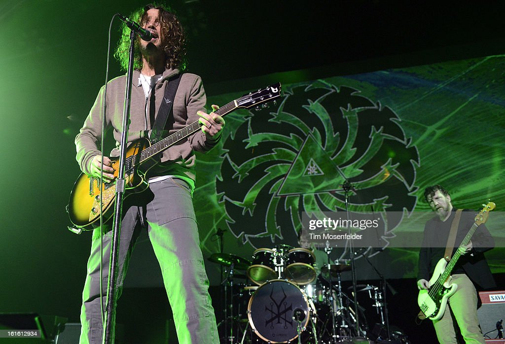 <a gi-track='captionPersonalityLinkClicked' href=/galleries/search?phrase=Chris+Cornell&family=editorial&specificpeople=221615 ng-click='$event.stopPropagation()'>Chris Cornell</a>, <a gi-track='captionPersonalityLinkClicked' href=/galleries/search?phrase=Matt+Cameron&family=editorial&specificpeople=4150964 ng-click='$event.stopPropagation()'>Matt Cameron</a>, and Ben Shepherd of Soundgarden perform in support the bands' King Animal release at The Fox Theatre on February 12, 2013 in Oakland, California.