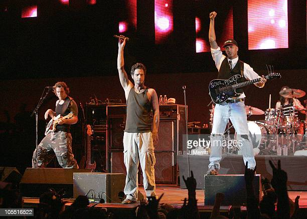Chris Cornell of Audioslave during The 1067 KROQ 'Weenie Roast' Concert 2005 Show at Verizon Wireless Amphitheatre in Irvine California United States