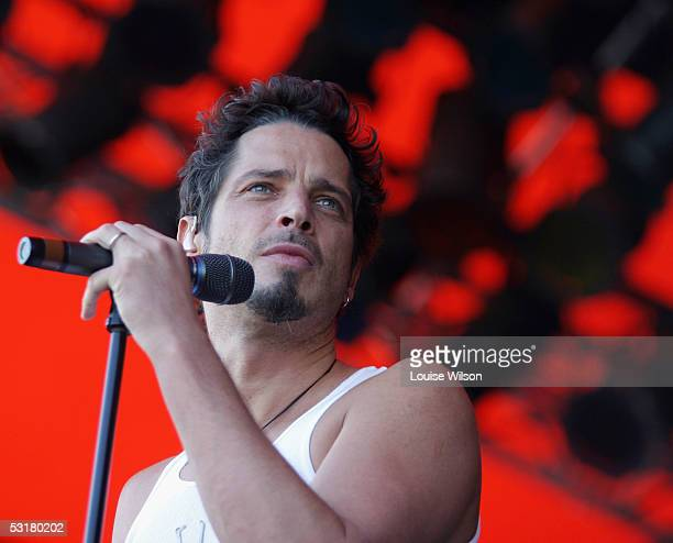 Chris Cornell of Audioslave performs on stage during the Roskilde Festival 2005 on July 1 2005 in Roskilde Denmark Some 70000 youths from across...