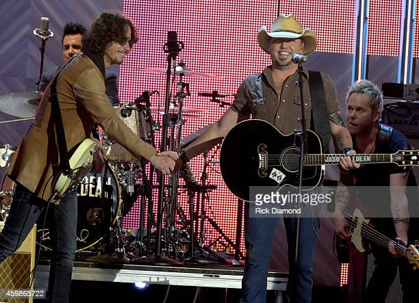 Chris Cornell of Soundgarden and Jason Aldean perform at the 2014 CMT Artists Of The Year at the Schermerhorn Symphony Center on December 2 2014 in...