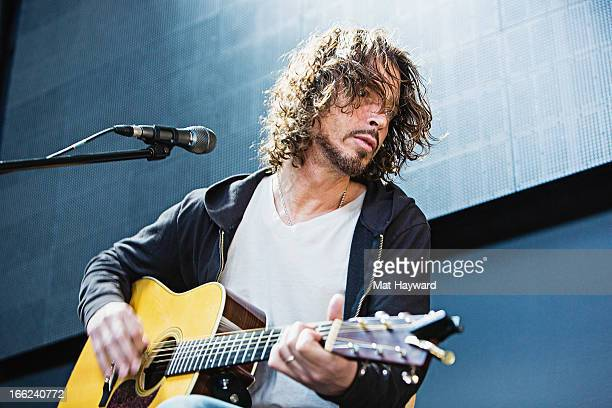 Chris Cornell of Soundgarden performs an acoustic set hosted by 999 KISW at Aston Manor on April 10 2013 in Seattle Washington