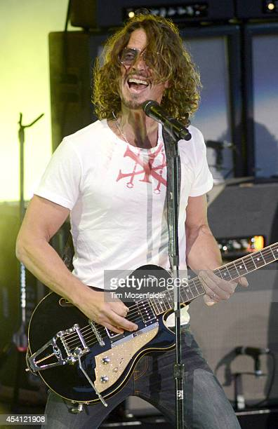Chris Cornell of Soundgarden performs at Shoreline Amphitheatre on August 24 2014 in Mountain View California