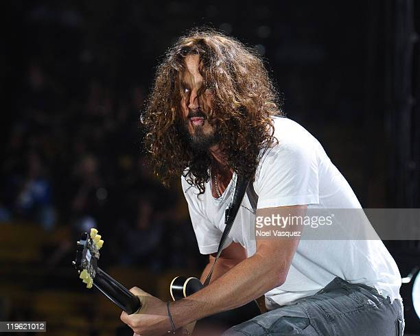 Chris Cornell of Soundgarden performs at the Forum on July 22 2011 in Los Angeles California