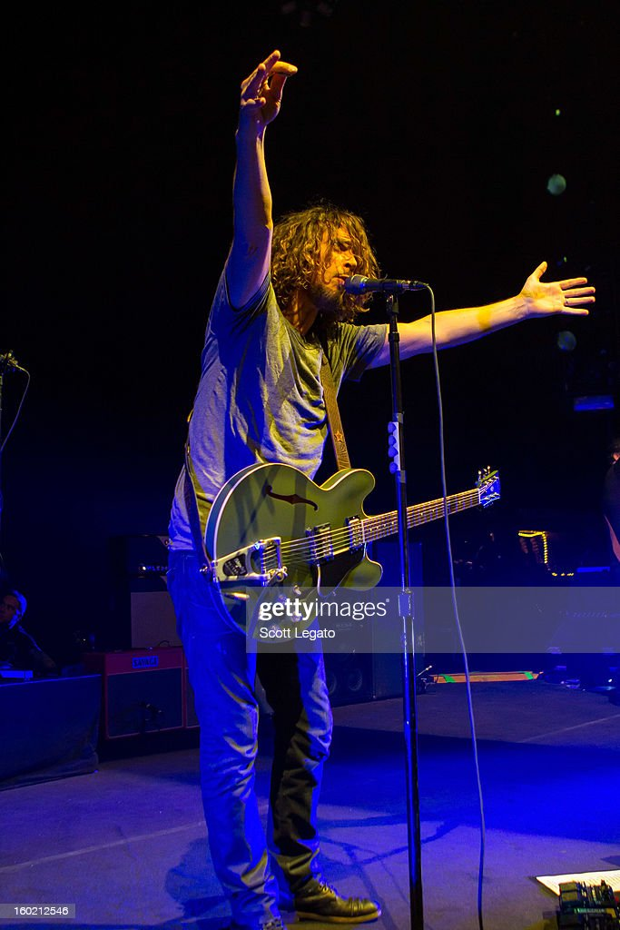 <a gi-track='captionPersonalityLinkClicked' href=/galleries/search?phrase=Chris+Cornell&family=editorial&specificpeople=221615 ng-click='$event.stopPropagation()'>Chris Cornell</a> of Soundgarden performs in concert at The Fillmore on January 27, 2013 in Detroit, Michigan.