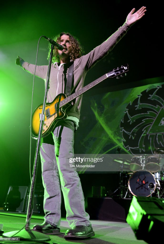 <a gi-track='captionPersonalityLinkClicked' href=/galleries/search?phrase=Chris+Cornell&family=editorial&specificpeople=221615 ng-click='$event.stopPropagation()'>Chris Cornell</a> of Soundgarden performs in support the bands' King Animal release at The Fox Theatre on February 12, 2013 in Oakland, California.