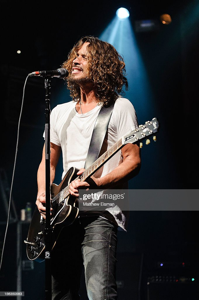 Chris Cornell of the rock band Soundgarden performs at an intimate show in celebration of their new album 'King Animal' at Irving Plaza on November 13, 2012 in New York City.