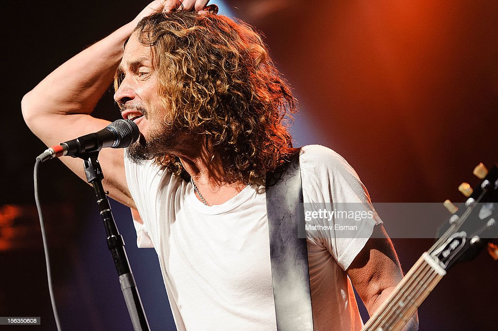 <a gi-track='captionPersonalityLinkClicked' href=/galleries/search?phrase=Chris+Cornell&family=editorial&specificpeople=221615 ng-click='$event.stopPropagation()'>Chris Cornell</a> of the rock band Soundgarden performs at an intimate show in celebration of their new album 'King Animal' at Irving Plaza on November 13, 2012 in New York City.
