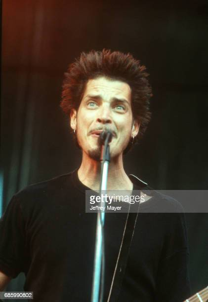 Chris Cornell performs with Soundgarden in concert at Lollapalooza Festival at Irvine Meadows Amphitheater on August 4 1996 in Irvine California...