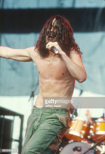 Chris Cornell performs with Soundgarden in concert at Lollapalooza Festival at Irvine Meadows Amphitheater on September 11 1992 in Irvine California...
