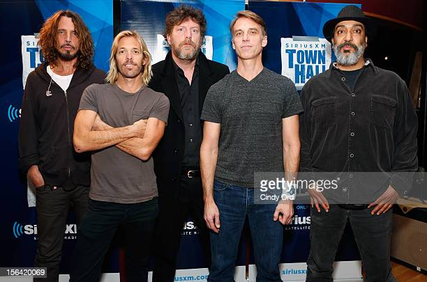 Chris Cornell Taylor Hawkins Ben Shepherd Matt Cameron and Kim Thayil pose at 'SiriusXM's Town Hall With Soundgarden' at Electric Lady Studio on...
