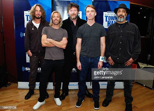 Chris Cornell Taylor Hawkins Ben Shepherd Matt Cameron and Kim Thayil of Soundgarden attend 'SiriusXM's Town Hall with Soundgarden' with moderator...