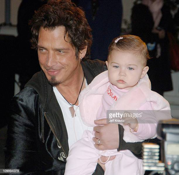 Chris Cornell with daughter Toni Cornell during VH1 Big in '05 Red Carpet at Sony Studios in Los Angeles California United States