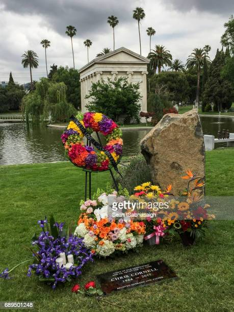 Chris Cornell's grave site at Hollywood Forever on May 26 2017 in Hollywood California The grungerock icon was pronounced dead in the early morning...