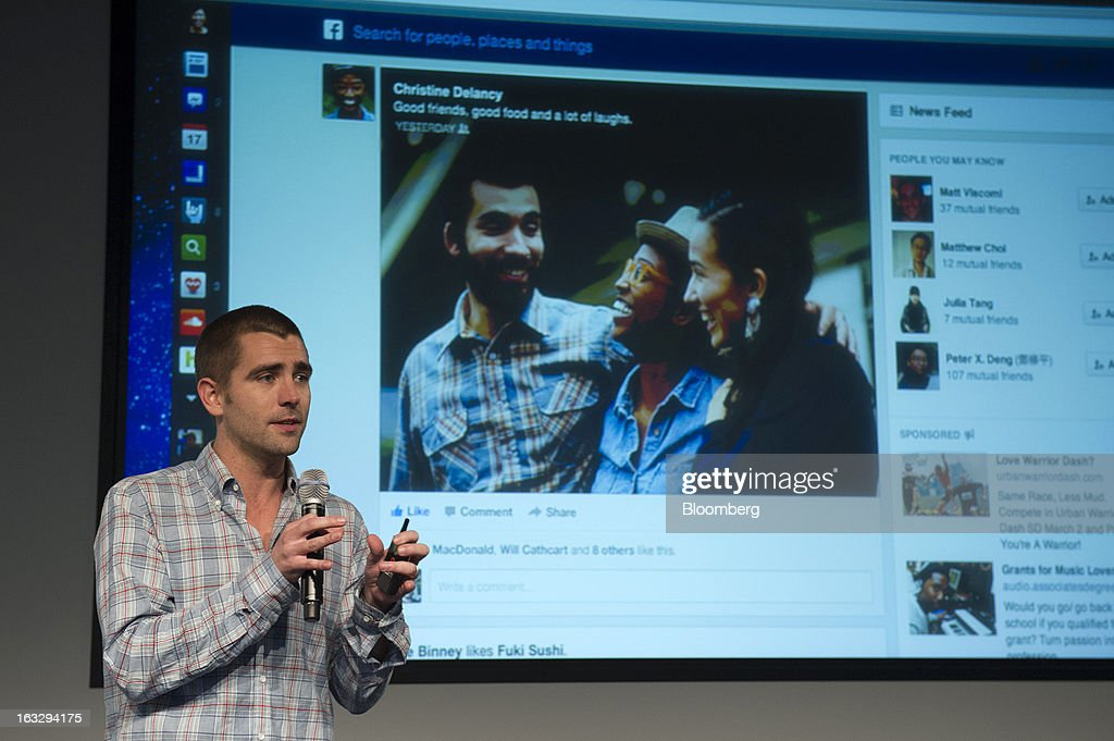 Chris Cox, vice president of product for Facebook Inc., speaks during an event at the company's headquarters in Menlo Park, California, U.S., on Thursday, March 7, 2013. Mark Zuckerberg, chief executive officer and founder of Facebook Inc., discussed the social-network site's upgraded News Feed which includes bigger photos, information sorted into topics and a more consistent design across devices. Photographer: David Paul Morris/Bloomberg via Getty Images