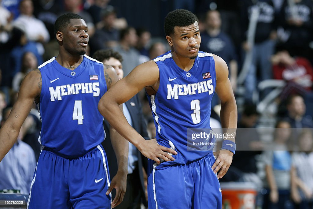 Chris Crawford #3 and Adonis Thomas #4 of the Memphis Tigers react during the game against the Xavier Musketeers at Cintas Center on February 26, 2013 in Cincinnati, Ohio. Xavier defeated Memphis 64-62.