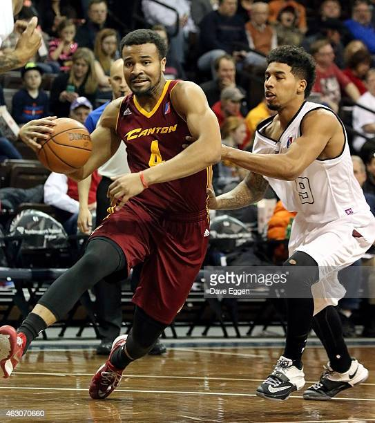 Chris Crawford from the Canton Charge drives against Michael Williams from the Sioux Falls Skyforce in the first half of their NBA DLeague game...