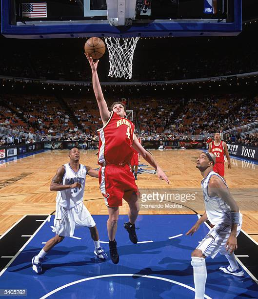 Chris Crawford of the Atlanta Hawks makes a layup against the Orlando Magic at TD Waterhouse Centre on April 2 2004 in Orlando Florida The Hawks won...