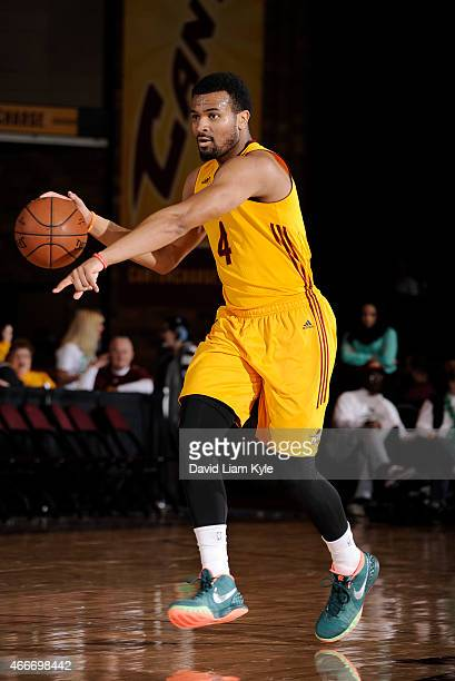 Chris Crawford of the Canton Charge brings the ball up the court against the Westchester Knicks at the Canton Memorial Civic Center on March 17 2015...